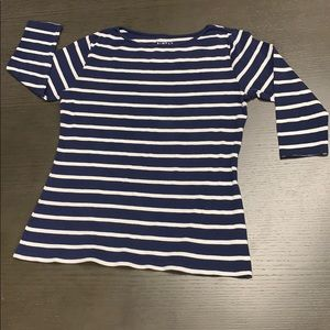 Navy blue and white stripe 3/4 length sleeve top